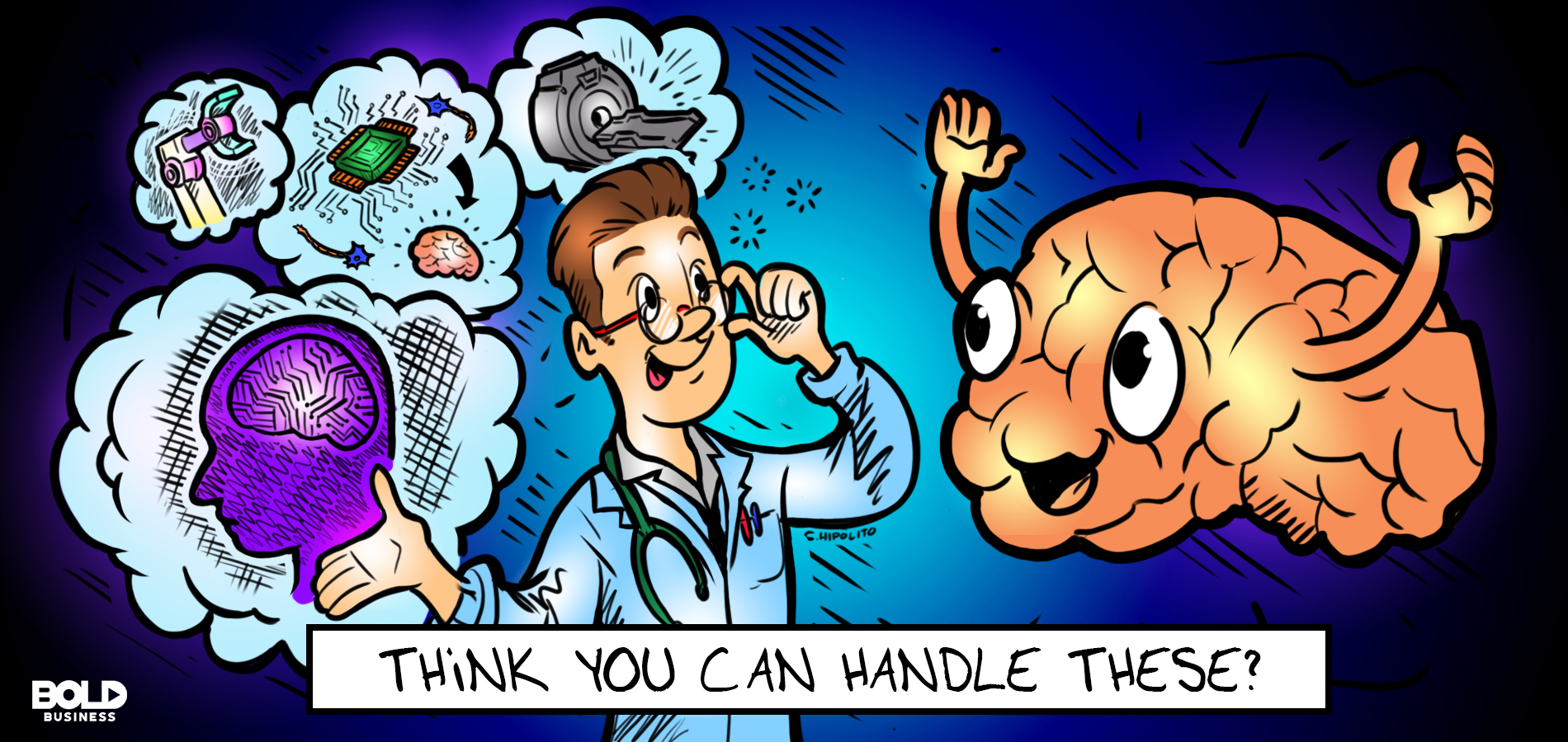 cartoon of a doctor challenging a life-size brain with neuromorphic computing