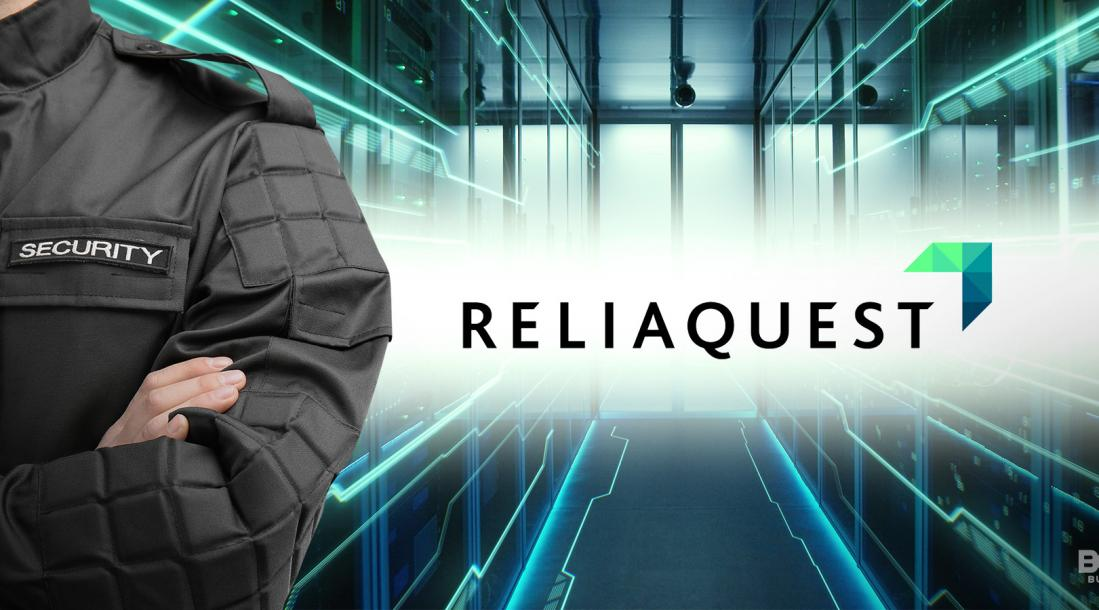 reliaquest logo, jacket with the name security on the left side of the image