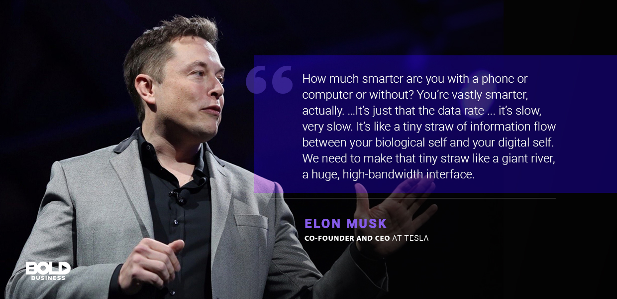 a photo quote of Elon Musk in relation to neuromorphic computing and brain chips