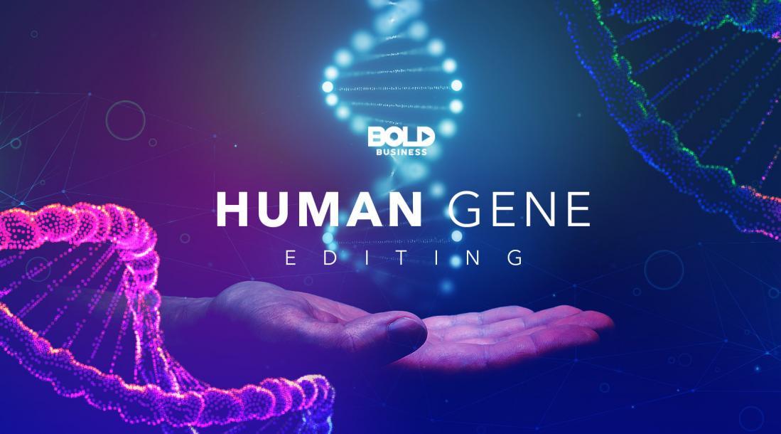 gene editing, hand under a gene sequence