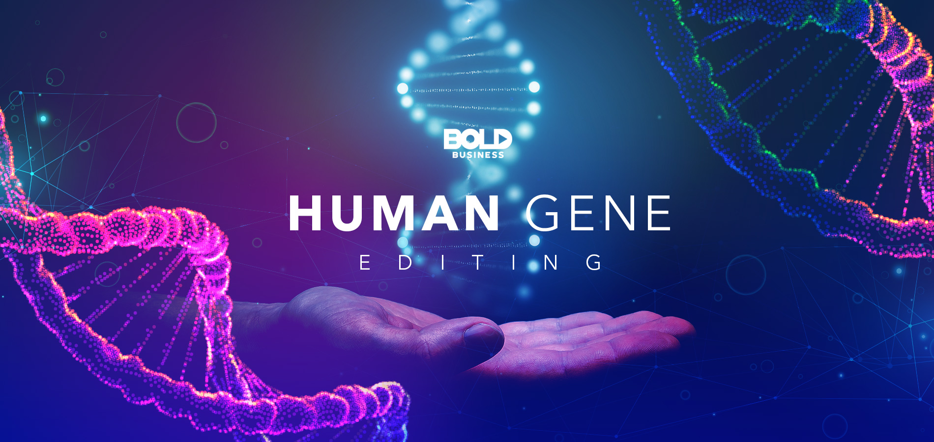 gene editing, hand under a gene sequence
