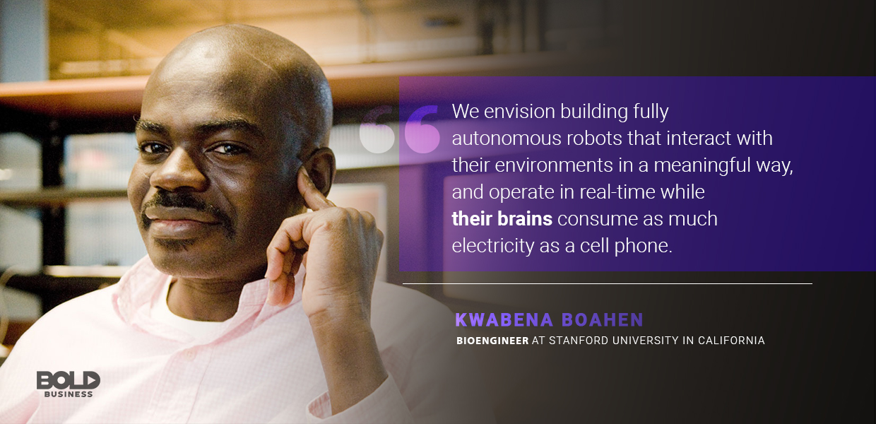 a photo quote of Kwabena Boahen in relation to neuromorphic computing and brain chips