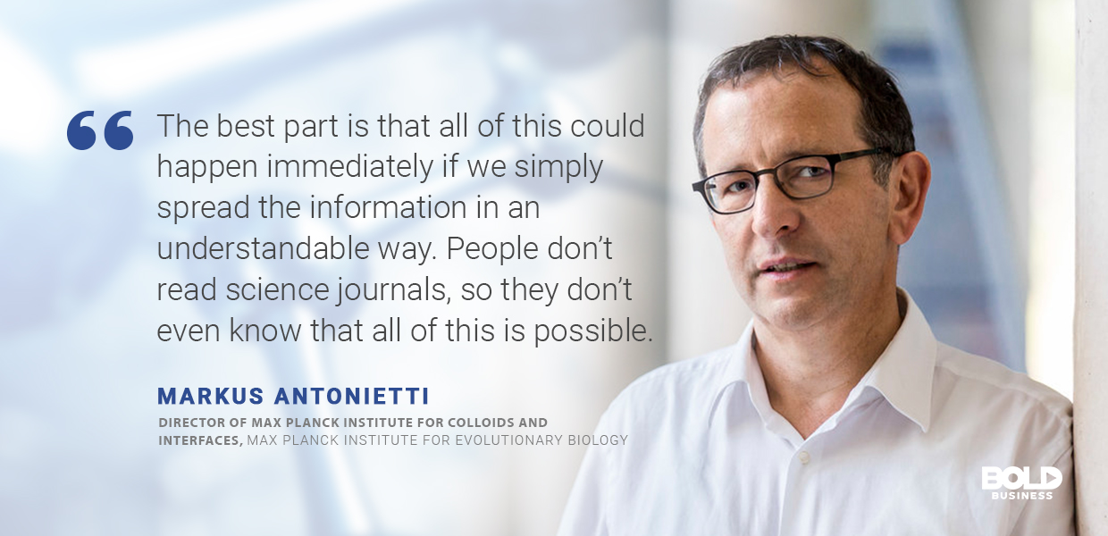 a photo quote of Markus Antonietti in relation to nanotechnology applications