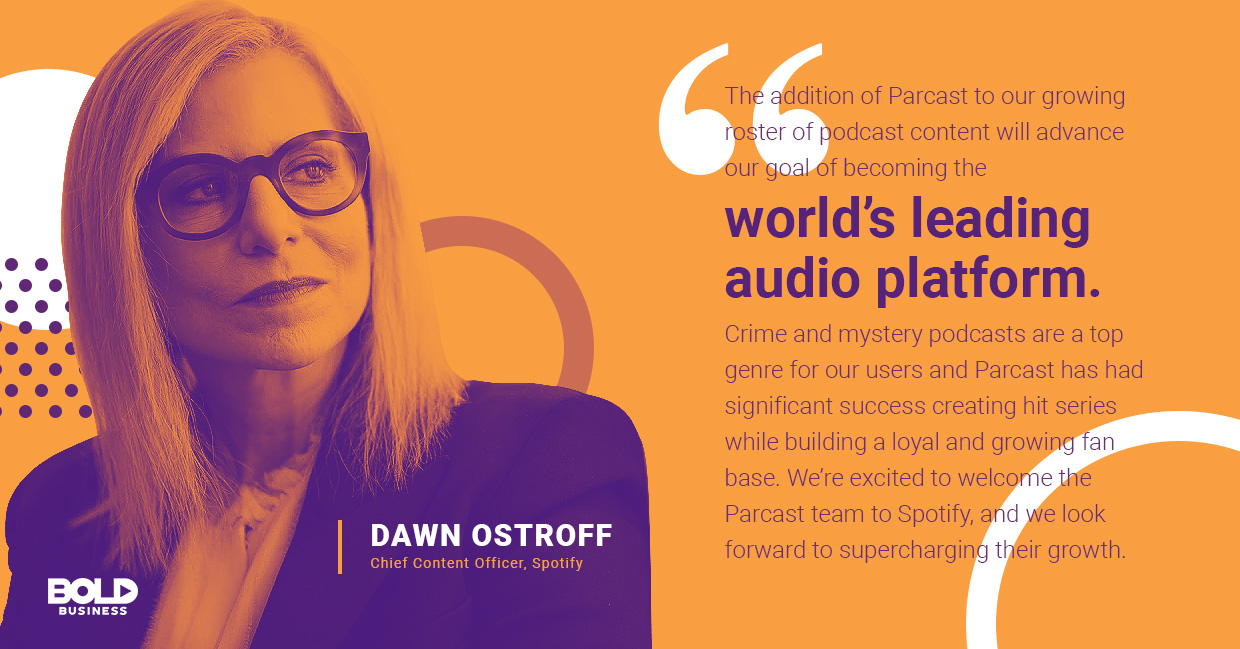 a photo quote of Dawn Ostroff in relation to the rising trend of companies recognizing the benefits of podcasts and the benefits of podcasting for business