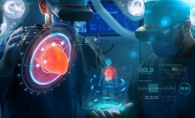 a photo of a group of doctors using virtual and augmented reality technology during a surgical operation