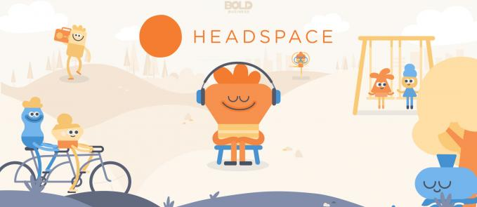 a photo of the Headspace Meditation App graphics and its logo