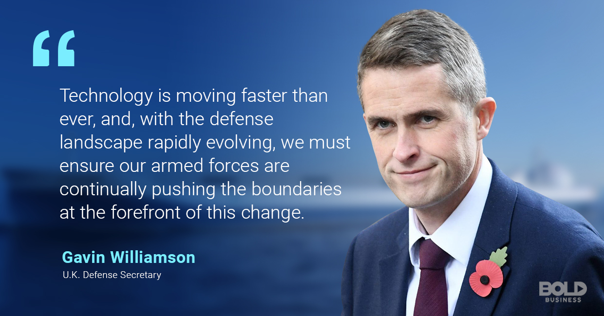 a photo quote of Gavin Williamson in relation to technological advances in the creation of autonomous ships and unmanned surface vehicles