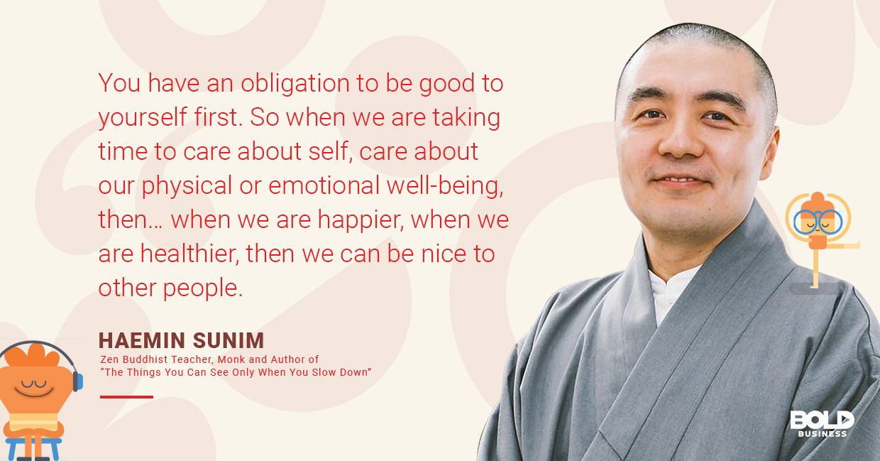 a photo quote of Haemin Sunim in relation to the Headspace Meditation App