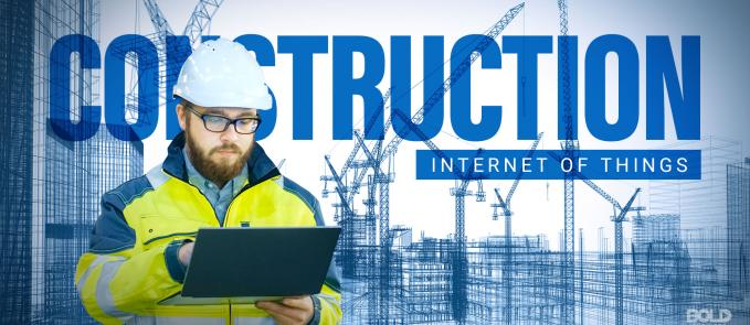 a photo of a construction worker working on his laptop and utilizing IoT in construction as the latest construction technology, showing the many applications on the Internet of Things