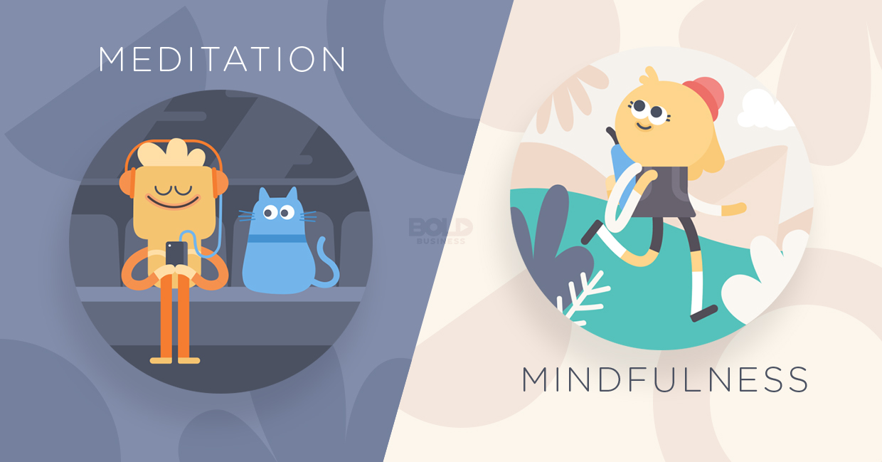 "a photo of the Headspace meditation app graphic characters on two sides of the image, with one acting the word ""meditation"" and the other acting the word ""mindfulness"""