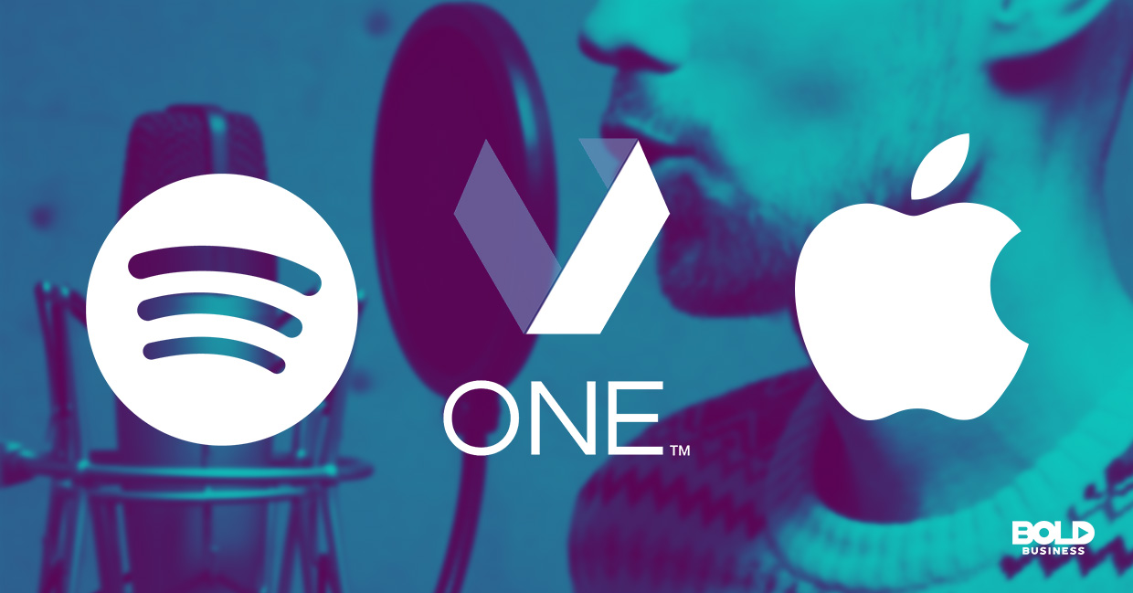 a photo of the company logos of Apple, Veritone One and Spotify in relation to the rising trend of companies recognizing the benefits of podcasts and the benefits of podcasting for business