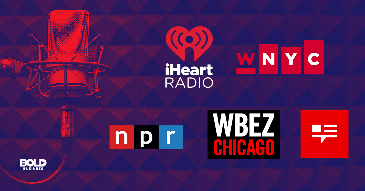 a photo of the company logos of National Public Radio (NPR), WNYC Studios, WBEZ Chicago and This American Life in relation to the rising trend of companies recognizing the benefits of podcasts and the benefits of podcasting for business