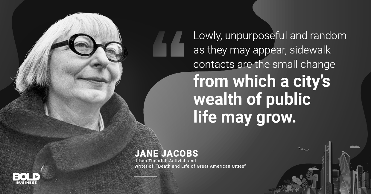 a photo quote of Jane Jacobs in relation to Sidewalk Labs Toronto and building smart cities worldwide