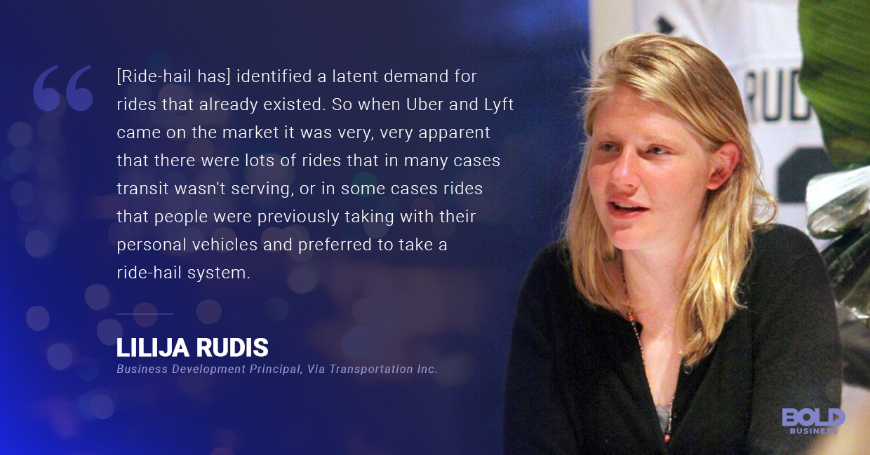 a photo quote of Lilija Rudis on the reality of ride-sharing services