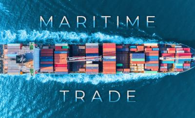 international trading, top view of a cargo ship on the ocean