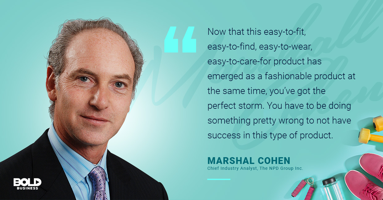 a photo quote of Marshal Cohen in relation to athleisure wear and fitness clothing brands