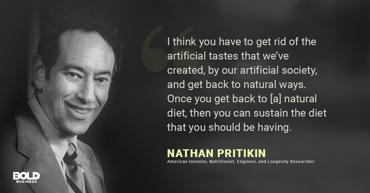 a photo quote of Nathan Pritikin on the importance of living a healthy lifestyle