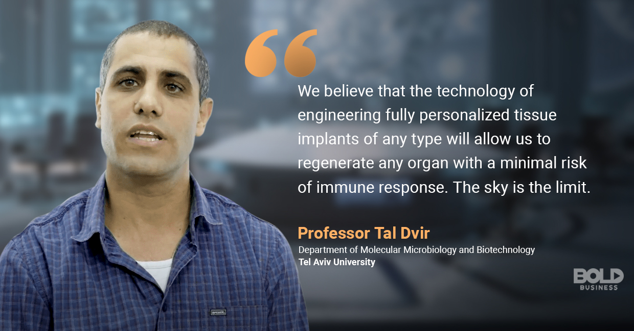 a photo quote of Professor Tal Dvir in relation to human cell regeneration