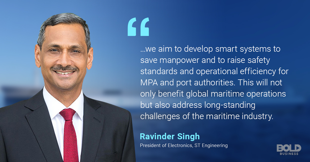 a photo quote of Ravinder Singh in relation to technological advances in the creation of autonomous ships and unmanned surface vehicles