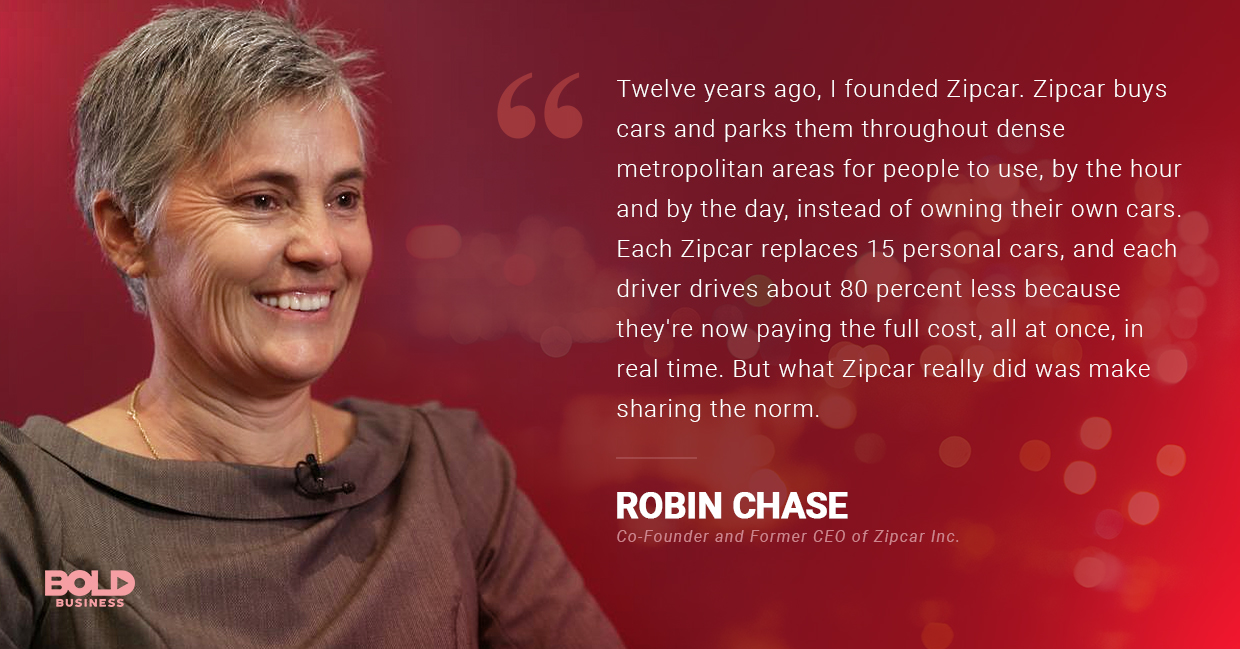 a photo quote of Robin Chase on Zipcar and its relation to the reality of ride-sharing services