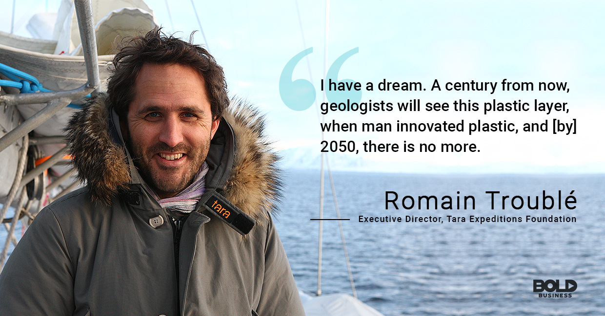 a photo quote of Romain Troublé in relation to the reality of pollution in oceans and seas, as well as ocean benefits to humans