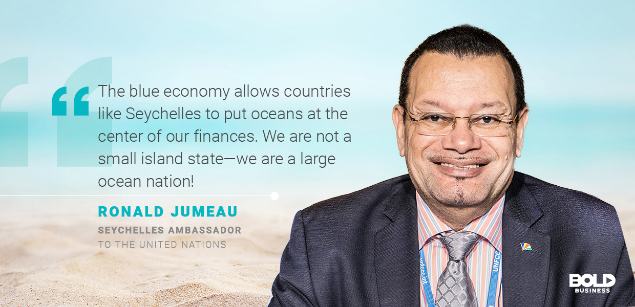 a photo quote of Ronald Jumeau amid Blue Economy discussions on coastal tourism and sustainable tourism development