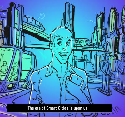 a cartoon or illustration that shows a man walking in the middle of a colorful smart city, depicting an image of what Sidewalk Labs Toronto aims to achieve