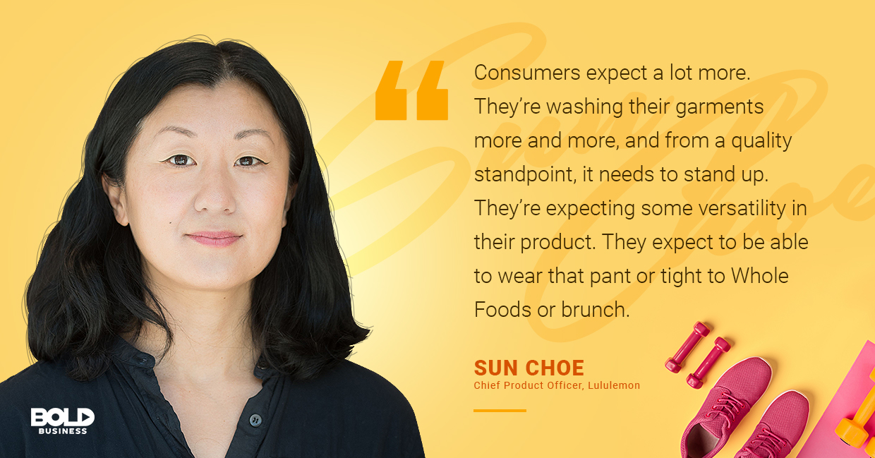 a photo quote of Sun Choe in relation to athleisure wear and fitness clothing brands