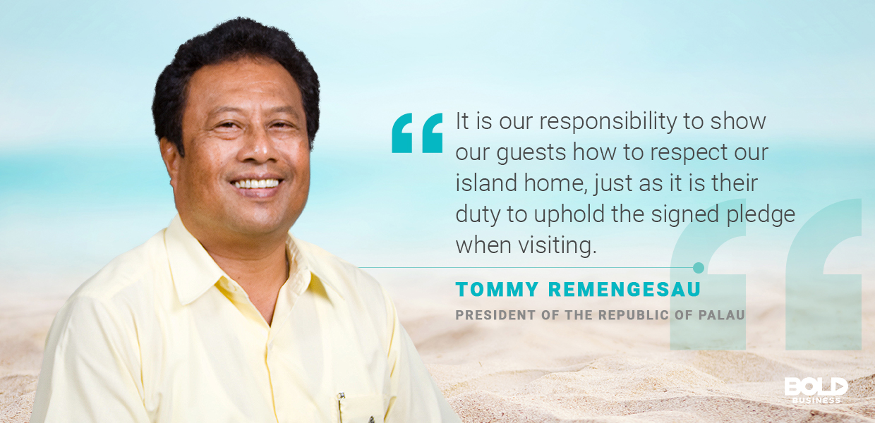 a photo quote of Tommy Remengesau amid Blue Economy discussions on coastal tourism and sustainable tourism development