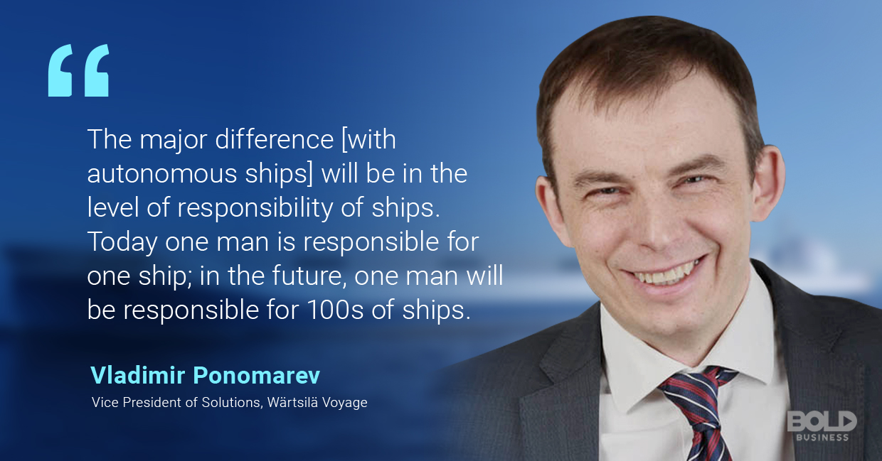 a photo quote of Vladimir Ponomarev in relation to technological advances in the creation of autonomous ships and unmanned surface vehicles