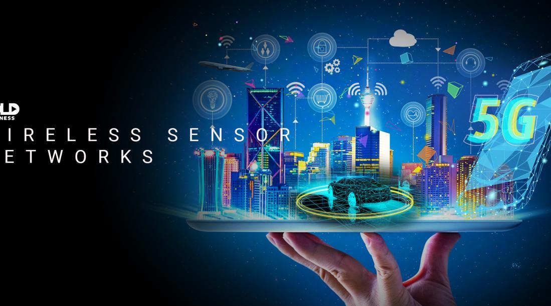 wireless sensor networks, hologram of a smart city, autonomous car and 5G