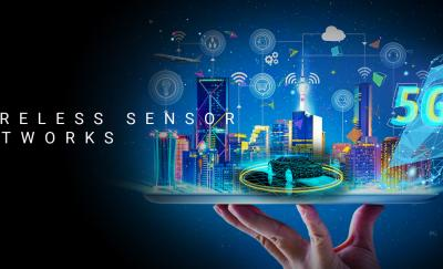 wireless sensor networks, hologram of a smart city, autonomous car and 5G