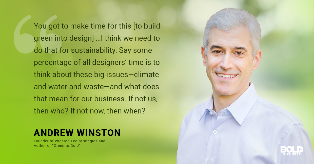 a photo quote of Andrew Winston in relation to the discussion of climate change solutions and companies saving the environment