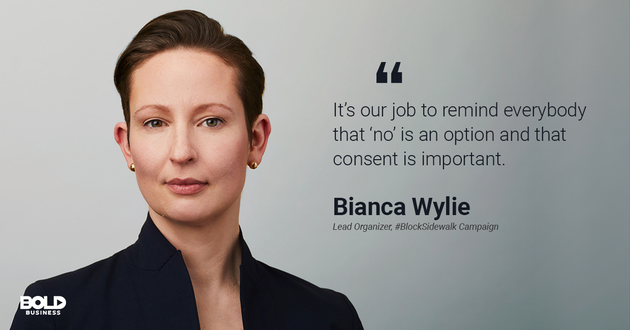 a photo quote of Bianca Wylie in relation to the current discussions on Sidewalk Labs and smart city initiatives