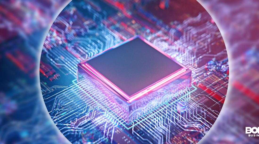 a photo of a chip used in the semiconductor industry