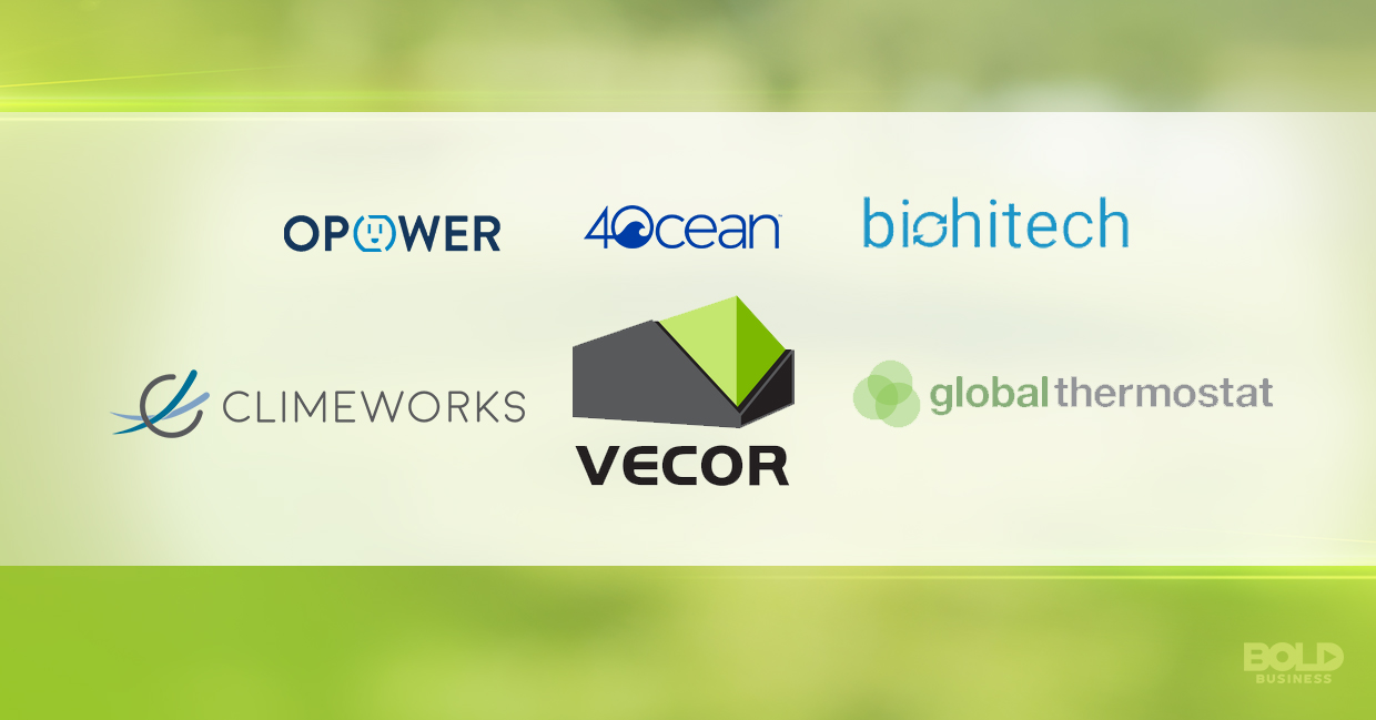 a photo of the company logos of the bold companies saving the environment with their climate change solutions