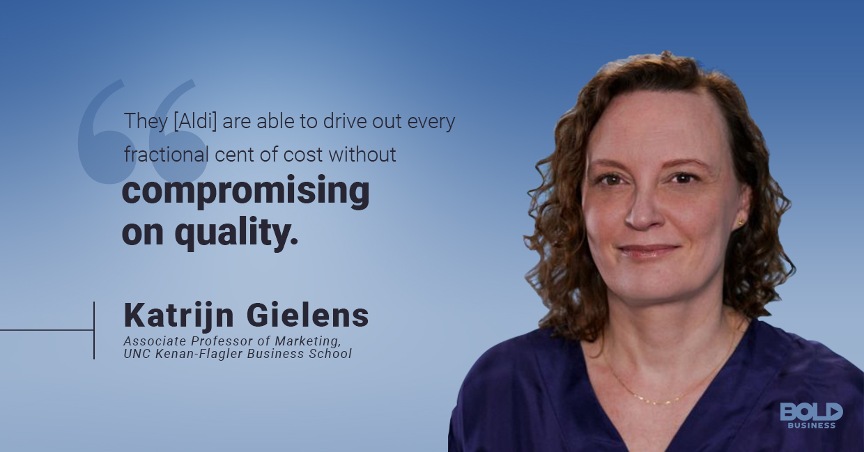 a photo quote of Katrijn Gielens amid the complex grocery wars in the supermarket industry