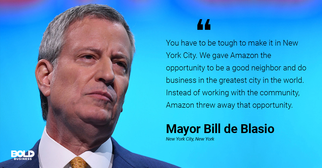 a photo quote of Bill de Blasio in relation to the current discussions on Sidewalk Labs and smart city initiatives