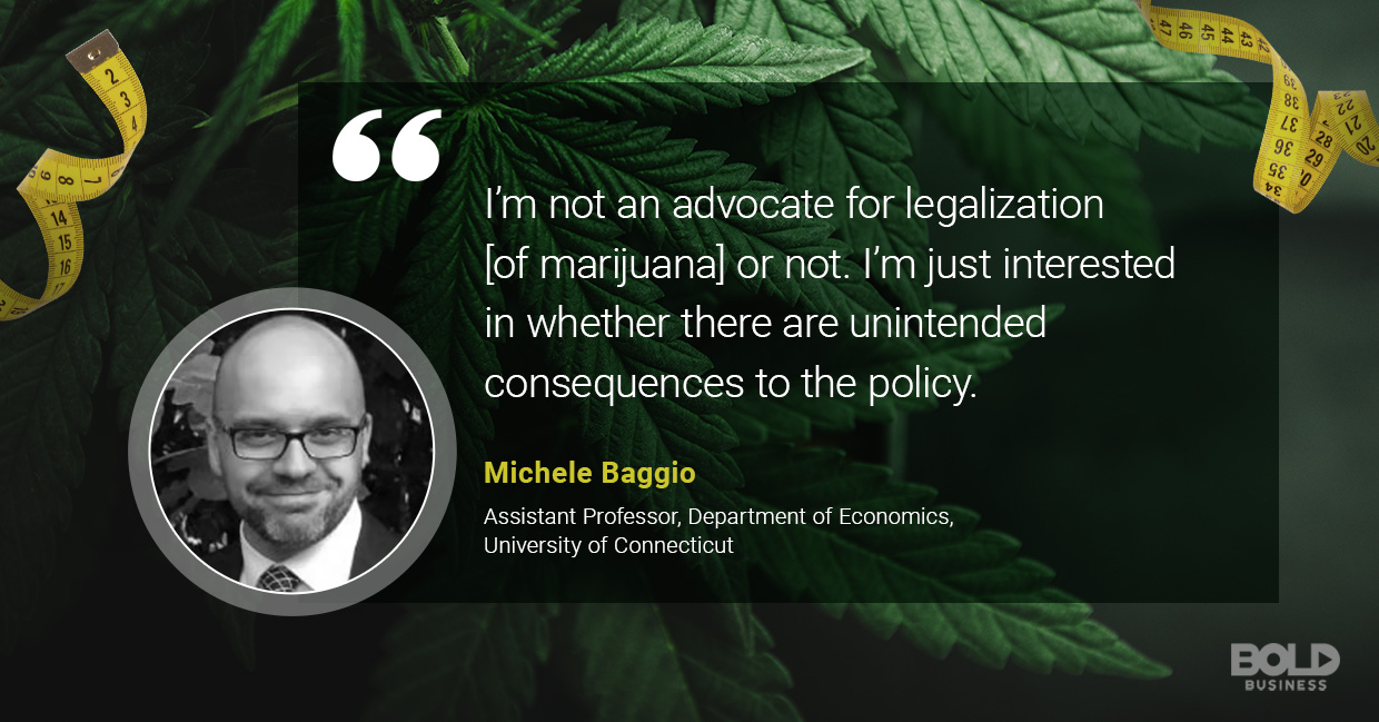 a photo quote of Michele Baggio in relation to the discussion on marijuana munchies and the link between marijuana and weight loss