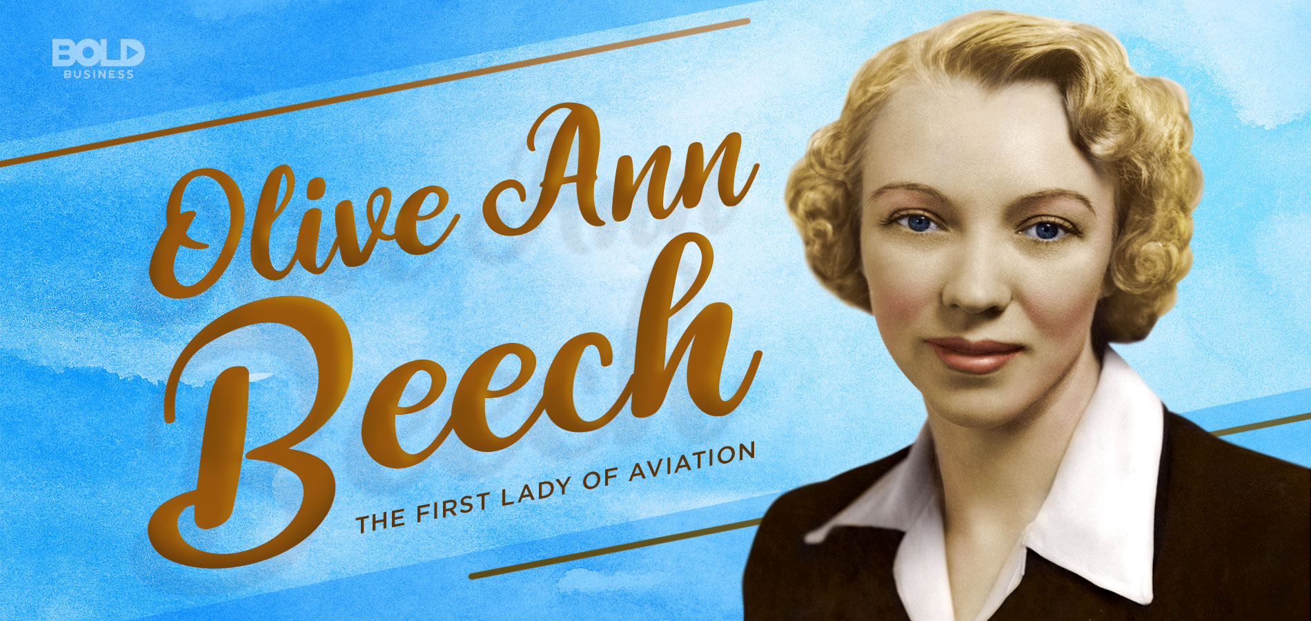 a photo of Olive Ann Beech with her title as the