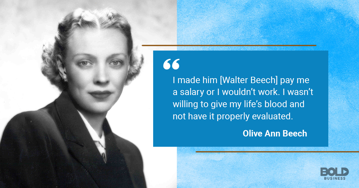 a photo quote of Olive Ann Beech on working hard and her pay or salary