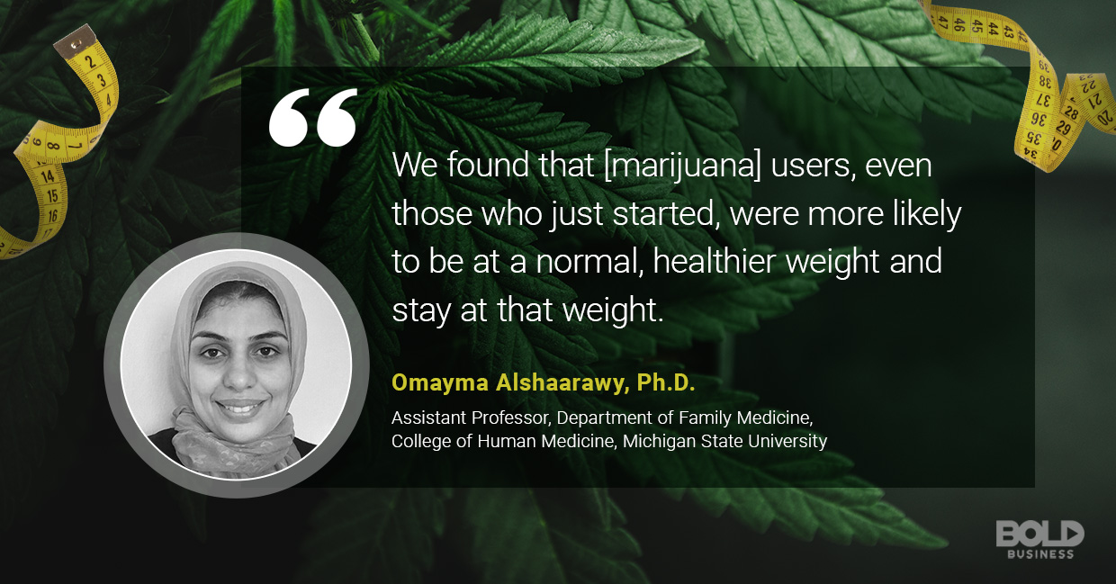 a photo quote of Omayma Alshaarawy in relation to the discussion on marijuana munchies and the link between marijuana and weight loss