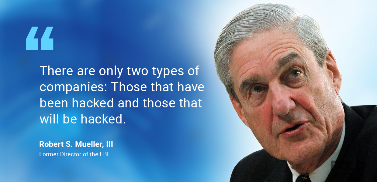 Photo quote of Robert Mueller talking about cyber crime