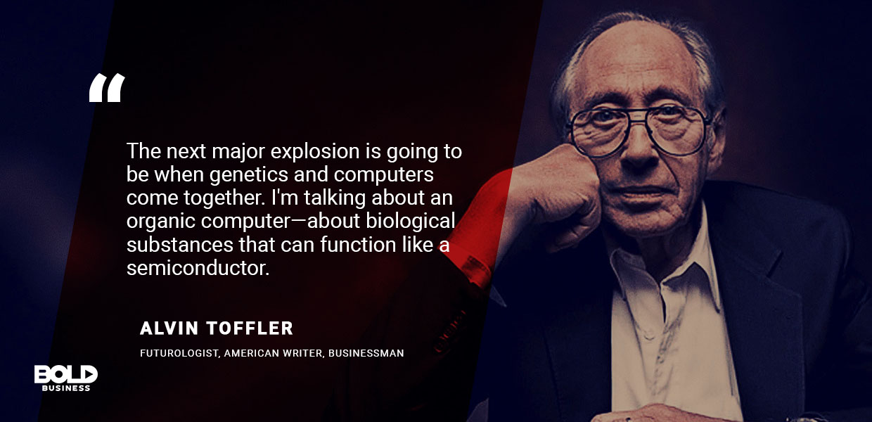 a photo quote of Alvin Toffler in relation to the semiconductor industry and material science and engineering