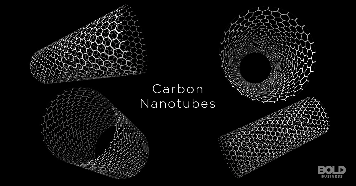 "a photo of the words ""carbon nanotubes"" surrounded by actual nanotubes used in the semiconductor industry and material science and engineering"