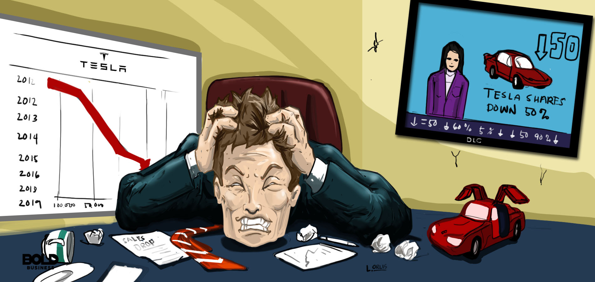 a cartoon of frustrated elon musk because of tesla motor company's dipping electric car sales