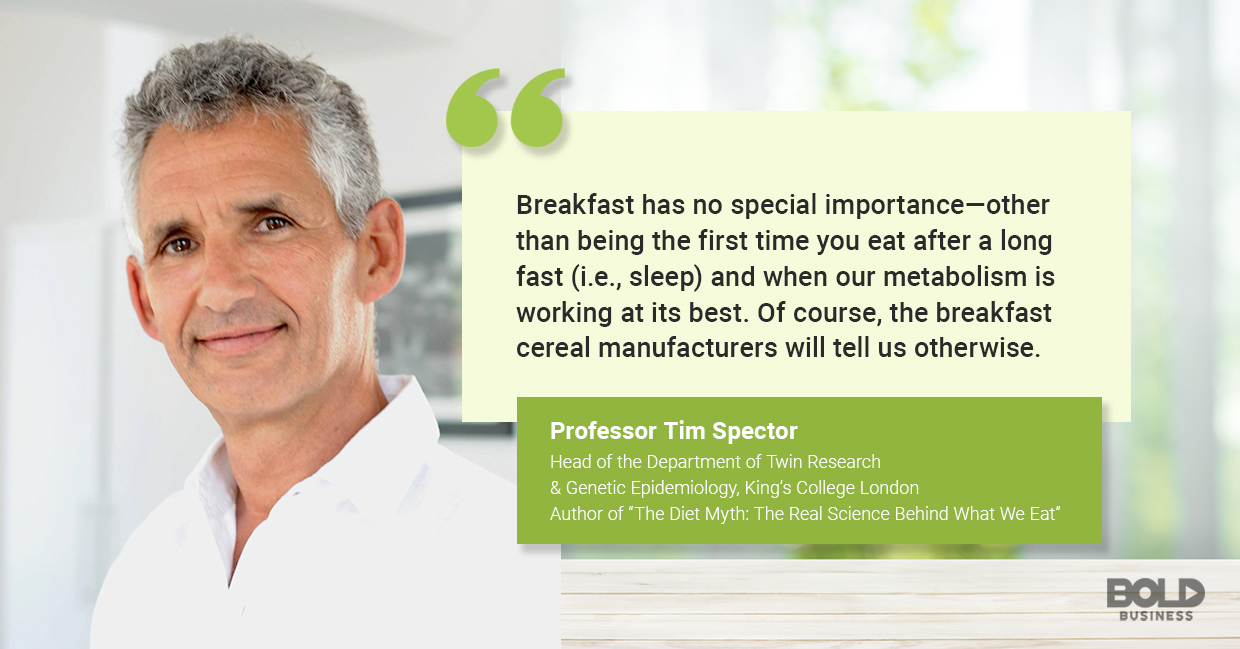 a photo quote of Tim Spector in relation to the discussion on the importance of breakfast and why breakfast isn't the most important meal of the day