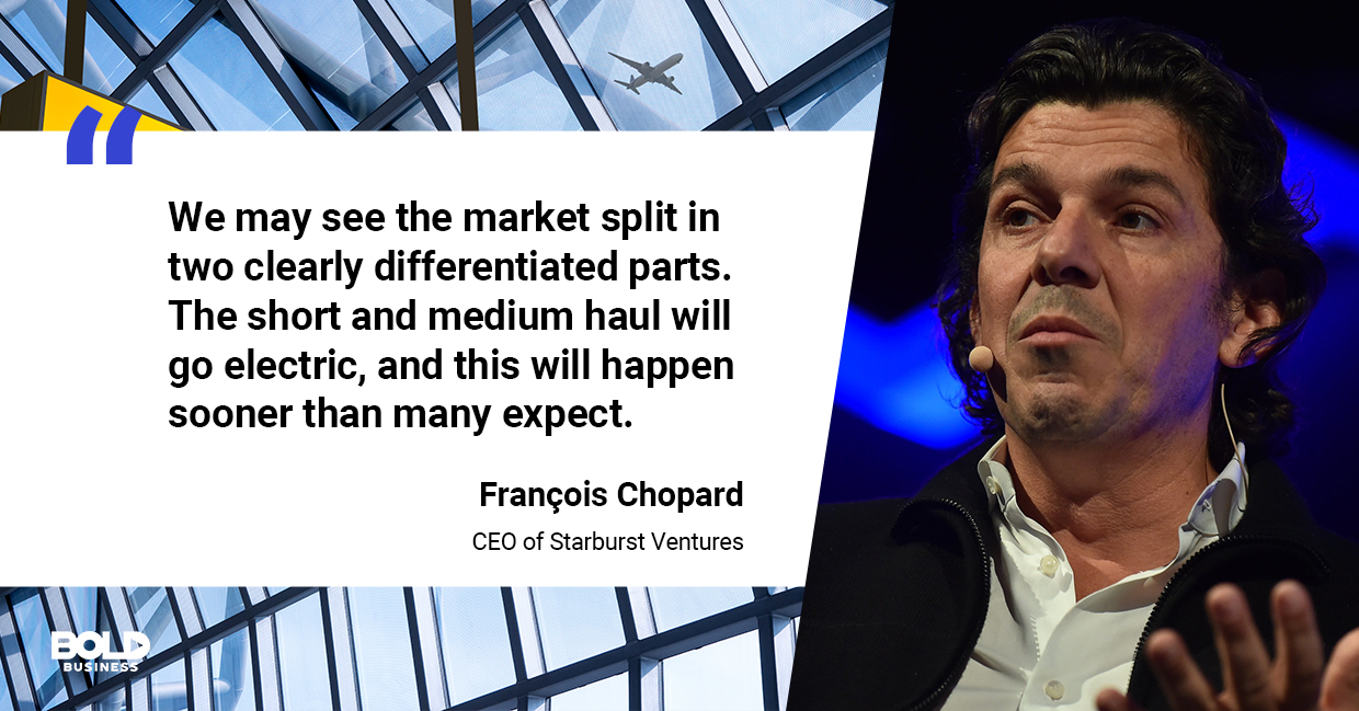 a photo quote of François Chopard in relation to the future of airline industry and aviation industry growth