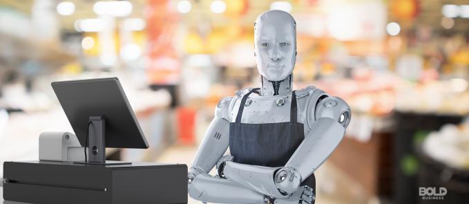 robotic workforce, robot in an apron