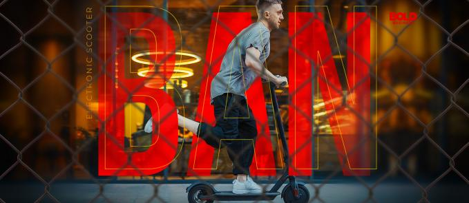 electric scooter ban, man in gray shirt using a scooter with the word ban on the background